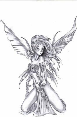 Une f e elfique noir et blanc tatouage - Dessin ange noir et blanc ...