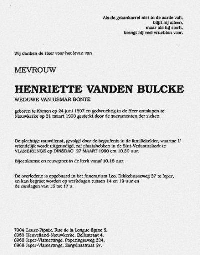 Faire part de décès de VANDEN BULCKE Henriette (21/03/1990 à Neuve-Eglise en Belgique)