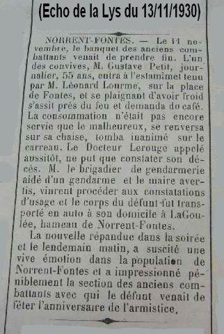 """Article de presse du journal """"l'Echo de la Lys"""" du 13.11.1930 (Décès de PETIT Gustave 11.11.1930 à Norrent-Fontes)"""