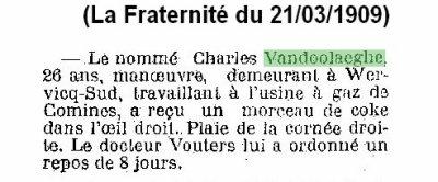 Article de presse de La Fraternité du 21/03/1909 (Accident du travail de VANDOOLAEGHE Charles en 03/1919 à Comines)