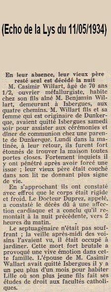 Article de presse de l'Echo de la Lys du 11/05/1934 (Décès de WILLART Casimir le 07/05/1934 à Isbergues)
