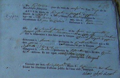 Acte de décès de DIPPRE Séraphine Joseph (26/06/1802 à Ham-en-Artois)