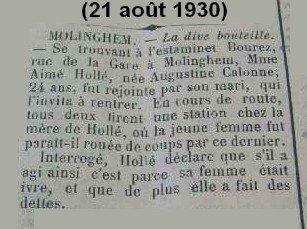 """Article de presse du journal """"L'Echo de la Lys"""" du 21.08.1930 : La dive bouteille (Dispute conjugale du couple HOLBE Aimé et CALONNE Augustine))"""