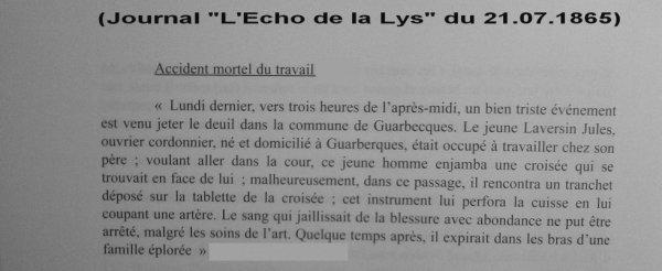 Article de presse de l'Echo de la Lys du 21.07.1865 : Accident mortel du travail (Décès de LAVERSIN Jules le 10.07.1865 à Guarbecque)