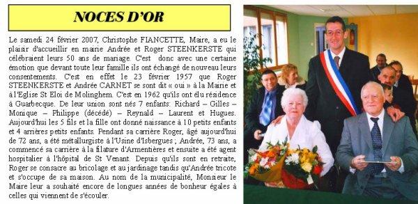 """Article de presse du bulletin municipal de Guarbecque """"Le Petit Journal"""" de Mars 2007 : Noces d'Or (50 ans de mariage de STEENKERSTE Roger et de CARNET Andrée à Guarbecque)"""