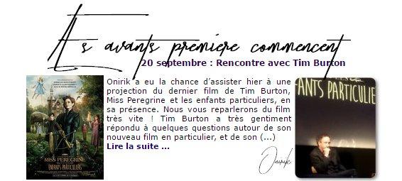 Actualité || Septembre 2016 || Ses mpreintes dans le ciment || Live le 19/09/2016 sur le facebook d'allociné || Orinik rencontre Tim Burton + avant première du film. || Beetlejuice 2