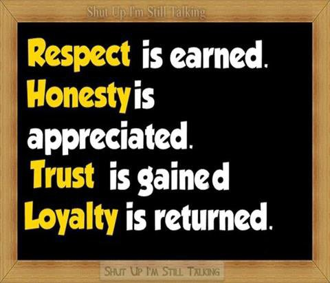 Respect is earned ...