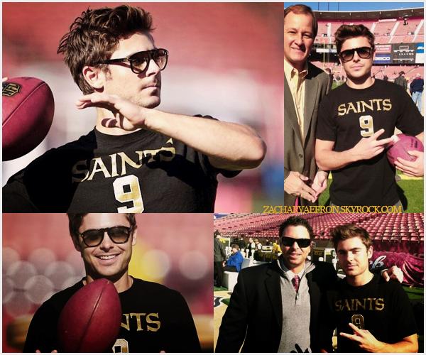 14.01.12 || Zac et son petit frère Dylan assistaient à un match de football américain des Saints Zac est juste magnifique sur les photos. Pour une fois qu'il était souriant. Plus, j'aime énormément ses lunettes de soleil.