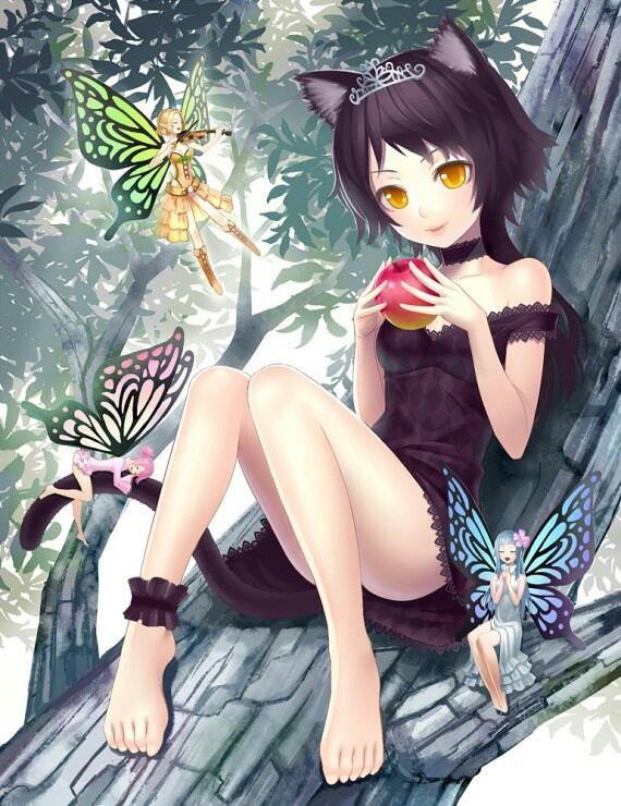 Fille manga chat avec filles papillons