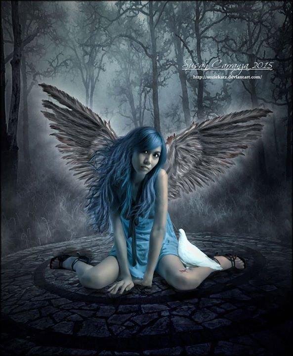 magnifique  ange  femme gothique