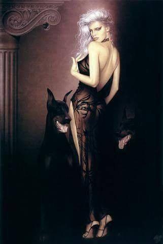 magnifique  femme   sexy avec    le  chien