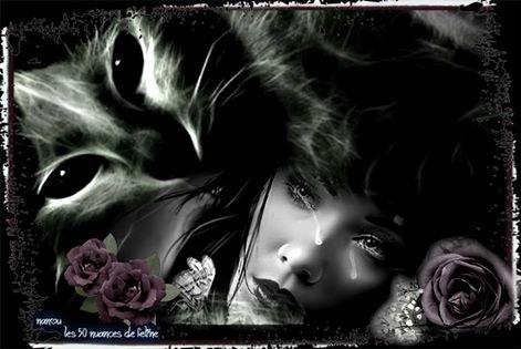 magnifique  visage  de  femme  gothique    triste