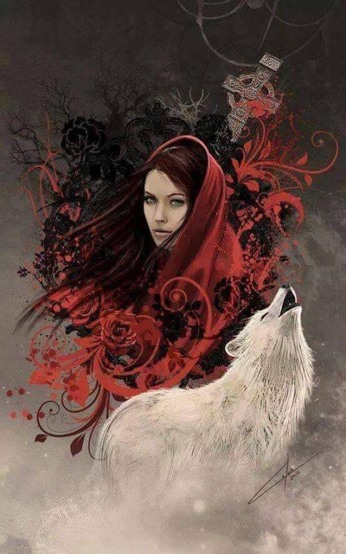 magnifique   femme   gothique  avec le loup blanc