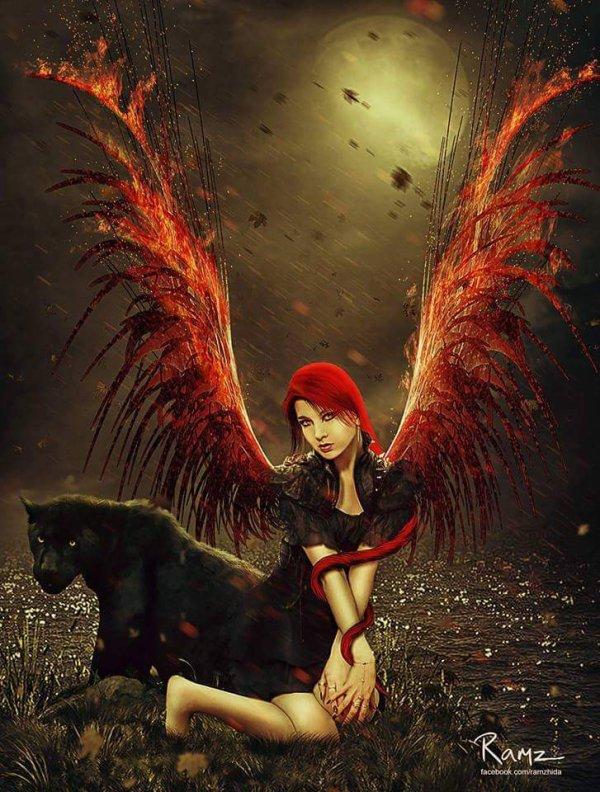 magnifique ange femme gothique avec  la  panthère noir