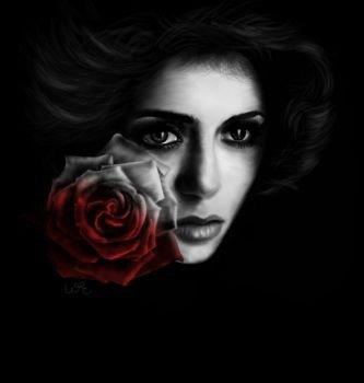 magnifique    visage  de  femme   gothique  as  la   rose