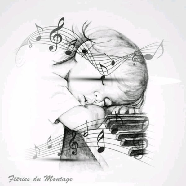 Magnifique image de l enfant endormi aux piano