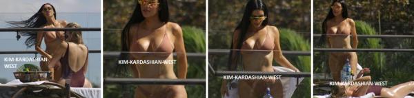 Kim & Khloé en train de bronzer au costa rica au bord d'une piscine. Kim a retrouvé un corps à en faire craquer plus d'un !