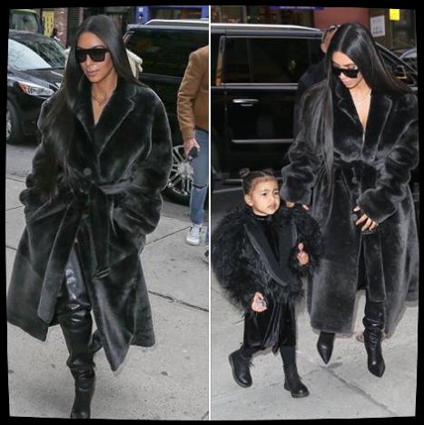 01.02.17: Kim vue à New york avec North. J'adore son manteau et ses longs cheveux. ♥