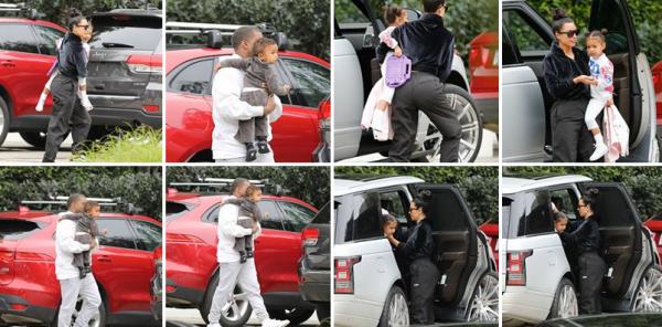 Kim a été apperçu le 5 fevrier à Brentwood en Californie avec Kanye et leur fille. J'aime bien sa coiffure, ça change un peu, quant à son pantalon je trouve qu'il est trop large pour elle.