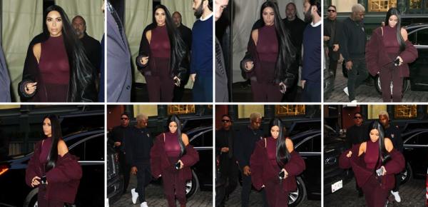 Kim le 15 fevrier, toujours à NY quittant son appart'. J'aime beaucoup cette couleur qui lui change du noir !