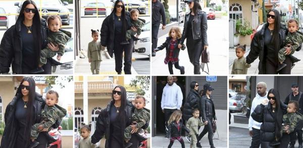 19.02.17 : Kim a été apperçue se promenant avec Penelope et sa fille North !