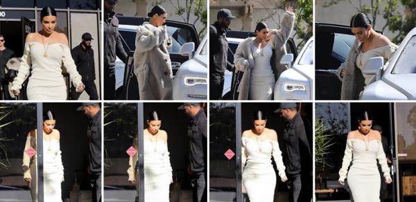 25.03.17 | Kim  a enfin été aperçue à Westlake, en Californie. Elle est tres jolie et sa robe lui va à merveille. Et enfin, une nouvelle coiffure !