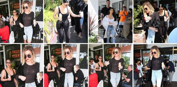 SORTIE 07.04.17 | Kim et ses soeurs ont été apperçues à Los Angeles où on peut voir Kim avec une glace à la main.