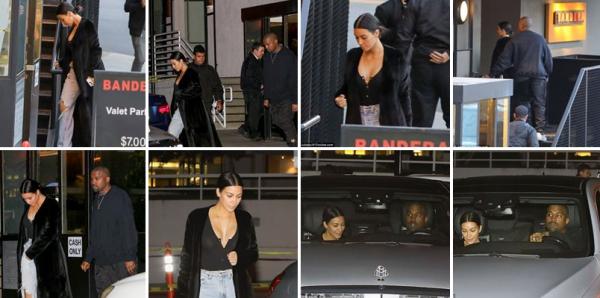 SORTIE  | 08.04.17 | Le celebre couple est allé diner dans un restaurant. Kim portait tres peu de maquillage et un jean assez large.