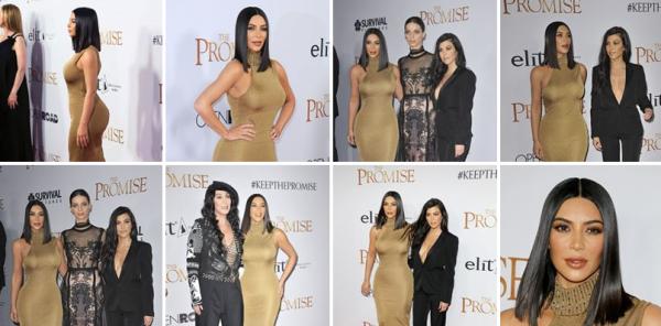 | 12.04.17 | Kim était présente à l'avant première de The Promise à Los Angeles. Il y avait entre autres sa soeur Kourtney et la chanteuse Cher.