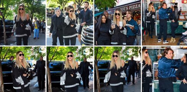 15.05.17 | Kim, Khloé et Jonathan Cheban, le meilleur ami de Kim ont été vues aller acheter de la pizza dans un restaurant...