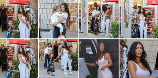 15.06.17 | C'est en compagnie de Kourtney et de Kanye, puis de ses enfants que Kim a été vue quittant le restaurant Ruby's à Los Angeles !