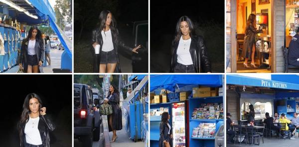 Kim a été vue se balladant en Californie, à Sherman Oaks. Elle portait un mini short, ainsi qu'un long manteau noir avec des talons. C'est un top !