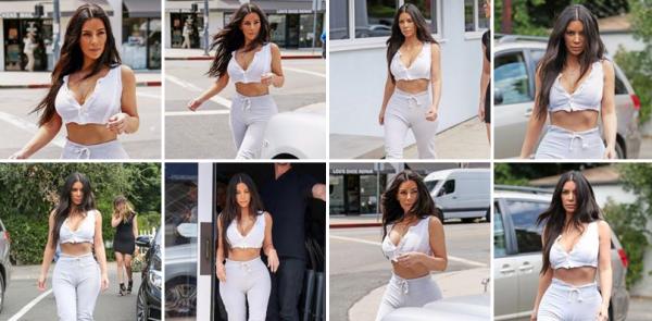 25.07.17 | Kim & Khloé ont été appeçues allant et quittant le restaurant Stanley's à Los Angeles.    Kim porte un jogging gris et un haut très court, elle est sublime.