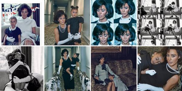INTERVIEW MAGAZINE: Kim & sa fille North ont réalisé un photoshoot, cette dernière apparaît déguisé en Jackie Kennedy... Je la trouve jolie bien que je ne sois pas fan du résultat .