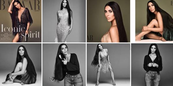 Pour Bazaar Arabia, Kim s'est inspirée de la chanteuse Cher, et je trouve le résultat bluffant, je ne l'ai jamais trouvé aussi belle ces derniers temps ! Une vraie déesse...