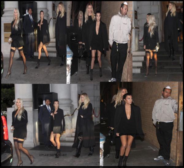 14 octobre 2017 :  Le soir, les 3 s½urs se sont rendues dans un restaurant toujours à San Francisco. La veste que porte Kim est la même qu'elle portait à la fashion week il y a quelques semaines !