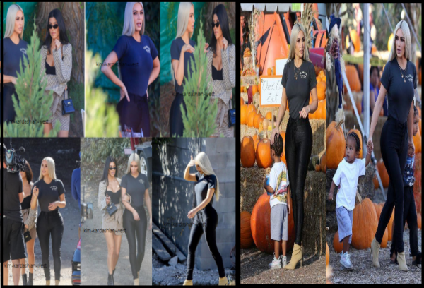 17 octobre 2017 : C'est avec Kourtney, sa s½ur ainée, que la belle Kim a été vue tournant des scènes pour Keeping Up With The Kardashians. L'episode sera un special pour noel ! L'aprés midi, elle a passé du temps avec ses enfants entourée de citrouilles.