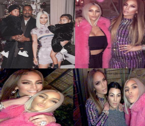En ce fin de mois de decembre & fin d'année 2017, voici quelques dernières photos de Kim, notamment en famille & et en compagnie de Jennifer Lopez.