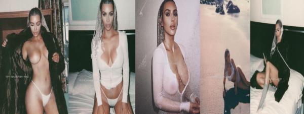 PHOTOSHOOT. Kim a réalisé un nouveau photoshoot dans une tenue très lègere avec une toute nouvelle coiffure !