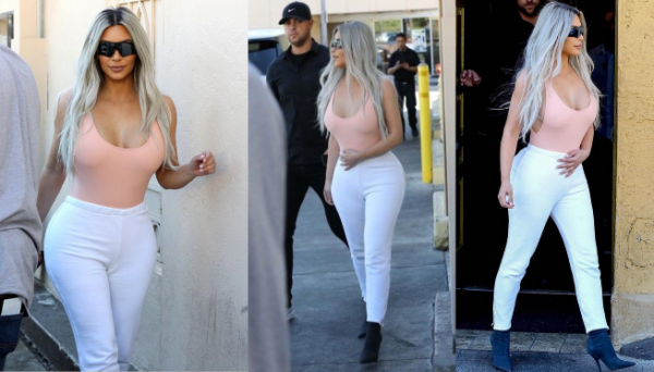 15.02.18: Kim sortait d'un restaurant de Los Angeles ce jour là. J'aime bien son look .