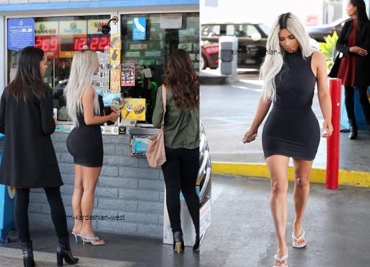 25.02.18 : Kim a été apperçue lors d'une sortie dans une petite station à Hollywood. J'aime mieux son look, mis à part que je la prefere avec des cheveux noirs !