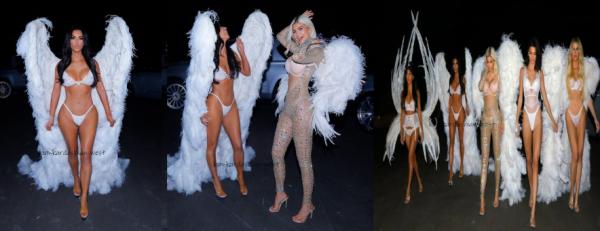 Kim & ses s½urs étaient déguisés en ange de Victoria's Secret pour Halloween le 31 octobre 2018.