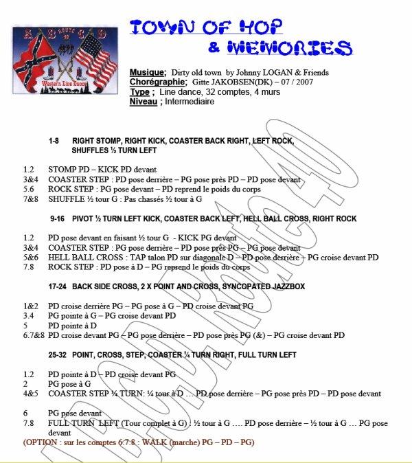 TOWN OF HOP & MEMORIES par Johnny Logan