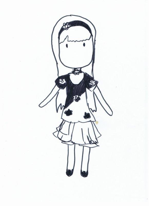 """Un dessin d'une """" poupée """" qui a seulement deux yeux sur son visage"""