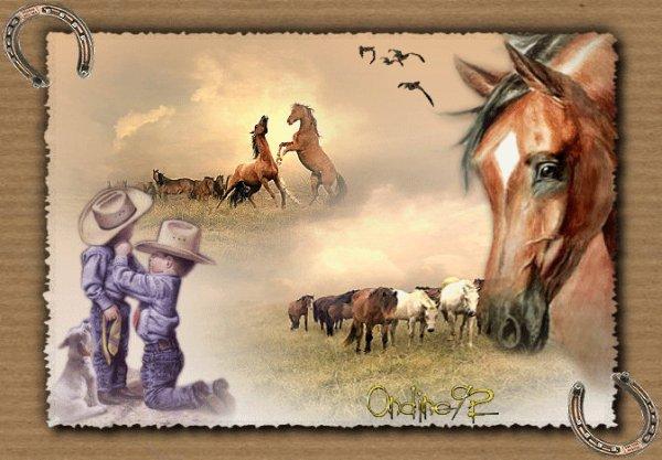 Enfants et chevaux.