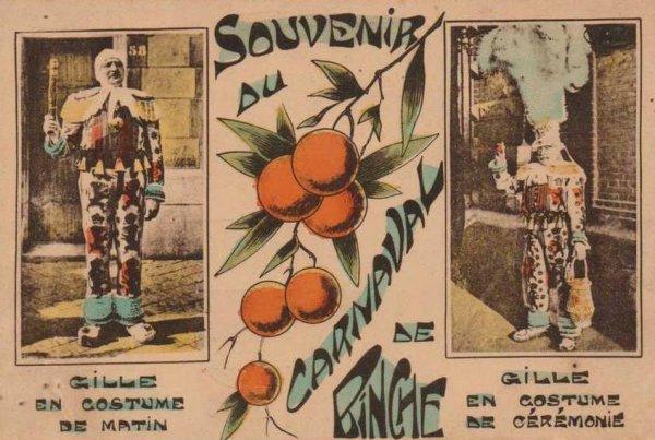 Carte postale ancienne du carnaval de Binche