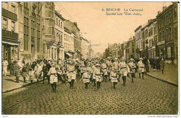"""Le carnaval de Binche photo ancienne: société """"les Don Juan"""""""