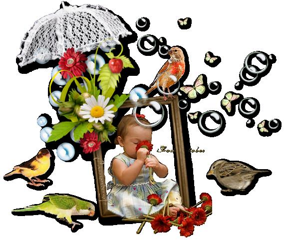 Fleurs d'été et petits oiseaux