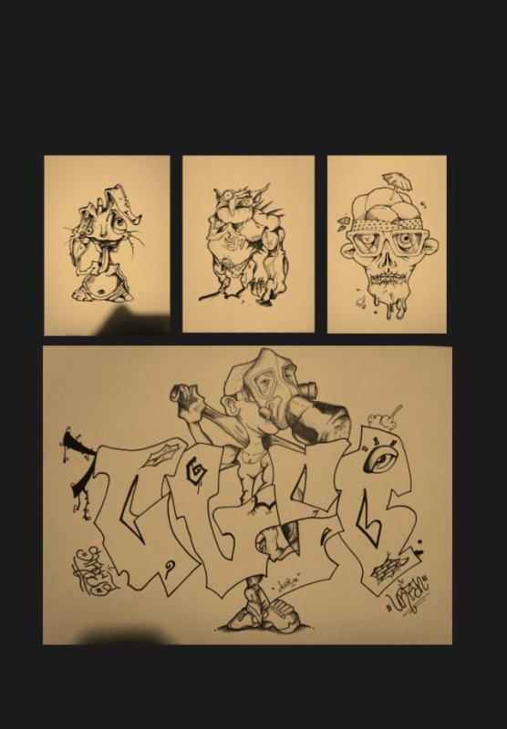 Rassemblement de mes 4 derniers dessins