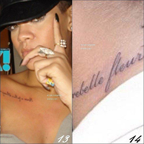 rihanna et ses tatouages  rihanna collectionne les tatouages   en tout  la belle barbadienne
